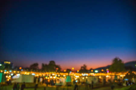 Abstract Blurred image of Night Festival on street  with light bokeh for background usage. Stock Photo