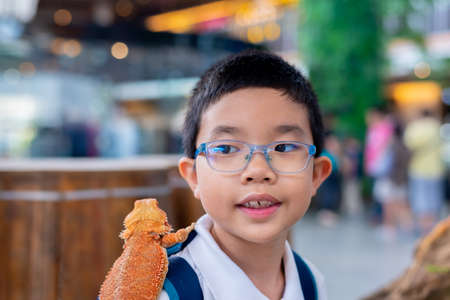 image of young cute Asian boy hold Bearded Dragon on his shoulder.