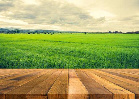 Holztisch und Vintage-Tonbild des sonnigen Tages der Schönheit auf dem Reisfeld mit Himmel und Berg im Hintergrund Standard-Bild