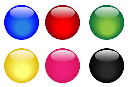 rollover: Collection of six illustrated glassy looking buttons (blue, red, green, yellow, pink and black) Illustration