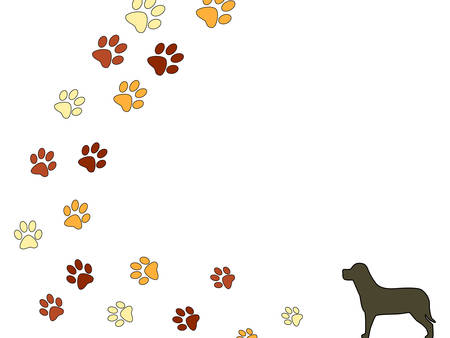 Vector illustration of a dog and some dog footsteps indicating his journey