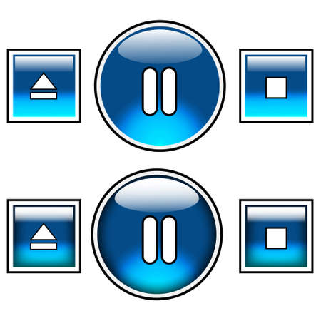 Nice blue glossy buttons including play, fast forward and fast backward. Top three can be used as normal buttons and lower three as roll over buttons. Will add playlist, sound control and exit soon. Stock Photo - 2671945