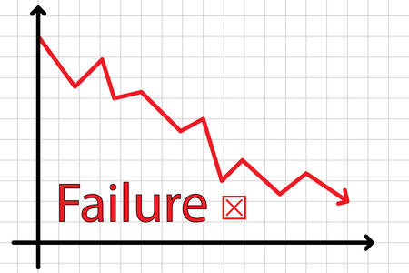 expressing negativity: Business chart illustration showing a graph of failure, going down, recession
