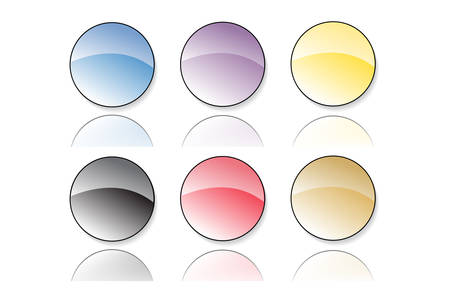 Collection of six vector illustrated glassy looking buttons (blue,purple, yellow, black, red, brown) Stock Vector - 2743519
