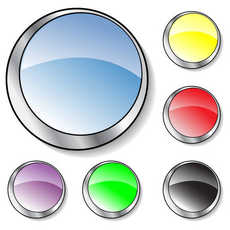 Collection of six illustrated vector  glassy looking buttons (blue,purple, yellow, black, red, green) Stock Vector - 2743970