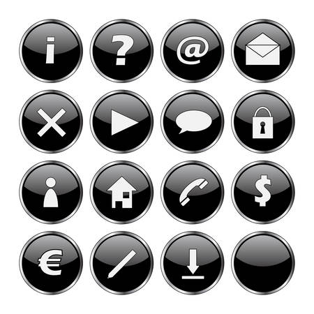 Icon set of 16 black buttons (exclamation, question, at, mail, delete, arrow, cloud, lock, man, home, telephone, dollar, euro, pen, download and empty) Vector