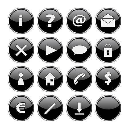 mail man: Icono conjunto de 16 botones negro (signo de exclamaci�n, la pregunta, en, el correo, eliminar, flecha, nube, de bloqueo, el hombre, su domicilio, tel�fono, d�lar, euro, pluma, y descargar vac�a)