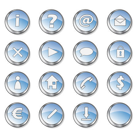 Icon collection 1 of 16 glossy blue buttons Vector