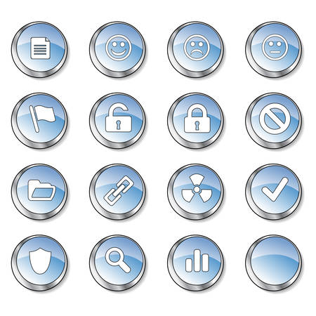 Icon collection 3 of 16 glossy blue buttons Stock Vector - 2758691