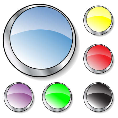 Collection of six illustrated glassy looking buttons (blue,purple, yellow, black, red, green) Stock Photo - 2758690