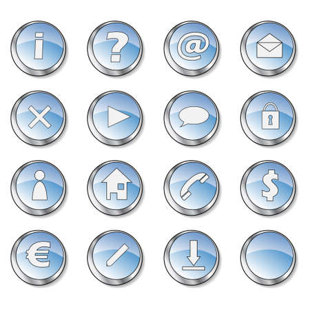 Icon collection 1 of 16 glossy blue buttons photo
