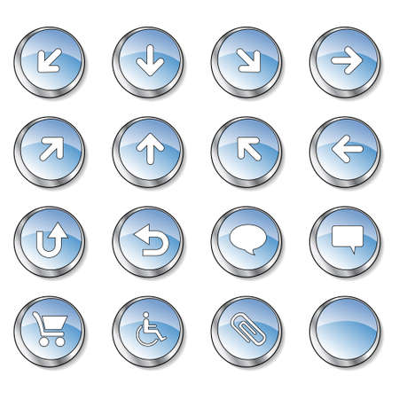 Icon collection 2 of 16 glossy blue buttons photo
