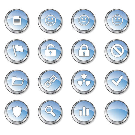 Icon collection 3 of 16 glossy blue buttons Stock Photo - 2758696