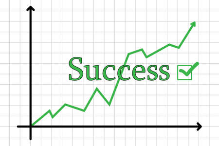 expressing positivity: Illustration of a business chart showing success, rising Stock Photo