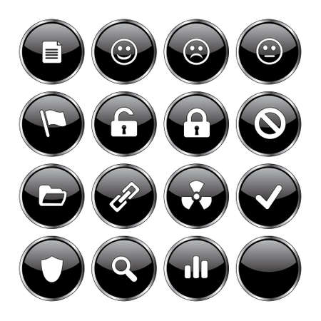 neutral face: Web icon set 3  (16 black buttons: document, smiley, sad face, neutral face, flag, unlocked, locked, prohibited, folder, link, radioactive, ok, shield, search, poll, blank) Stock Photo