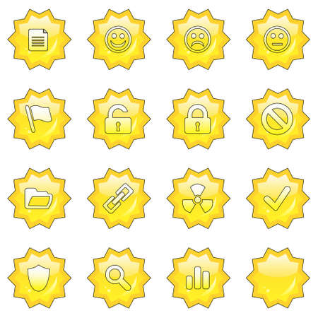 neutral face: Web icon set 2  (16 star buttons: document, smiley, sad face, neutral face, flag, unlocked, locked, prohibited, folder, link, radioactive, ok, shield, search, poll, blank) Stock Photo
