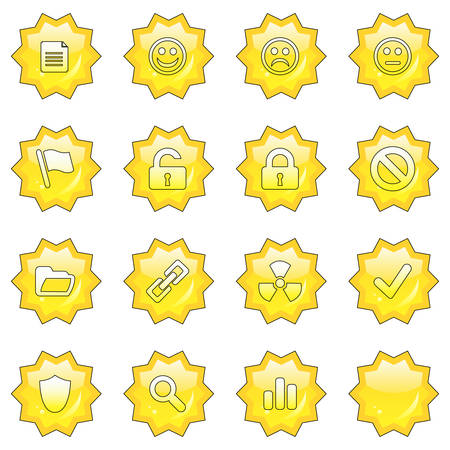 neutral face: Web icon set 2  (16 star buttons: document, smiley, sad face, neutral face, flag, unlocked, locked, prohibited, folder, link, radioactive, ok, shield, search, poll, blank) Illustration