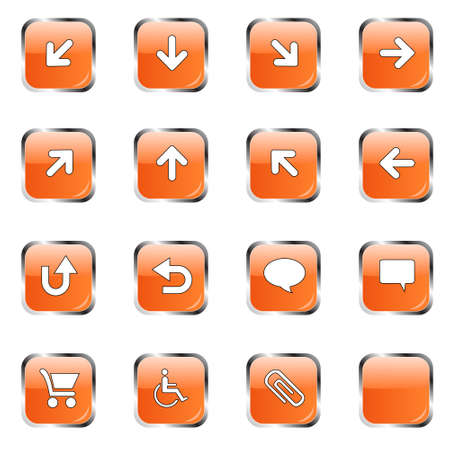 back up: Web icon collection 2 (16 orange buttons:up, down, left, right, diagonal, back up, back, arrows, clouds, shopping card, wheelchair, attachment, blank ) Stock Photo
