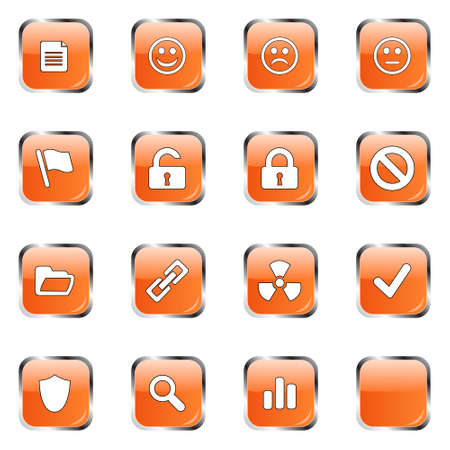 neutral: Icon collection 3 (16 orange glossy buttons: document, smiley, sad face, neutral face, flag, unlocked, locked, prohibited, folder, link, radioactive, ok, shield, search, poll, blank)