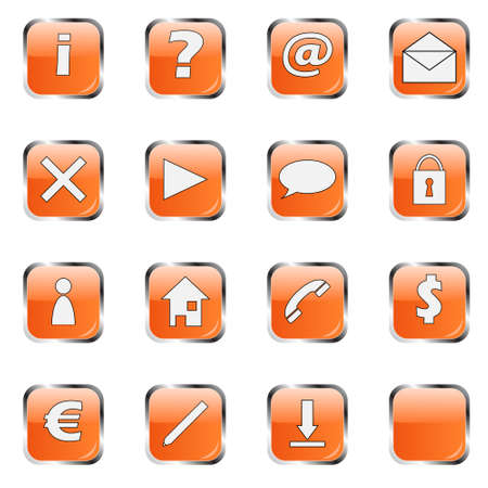 Orange web icon collection 1 (16 buttons:exclamation, question, at, mail, delete, arrow, cloud, lock, man, home, telephone, dollar, euro, pen, download and empty ) photo