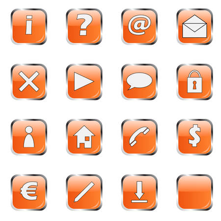 rollover: Orange web icon collection  Illustration