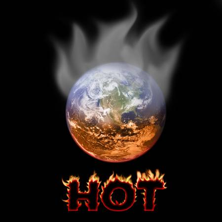 Picture shows a concept of warming earth being boiled and heat coming out from it. Stock Photo - 2783740