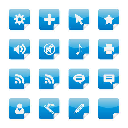 16 nice blue glossy vector stickers with foldup part 4. See my portfolio for more. Stock Vector - 2799733
