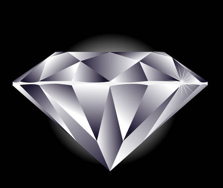 Diamond illustration on a black background. Stock Vector - 2832632
