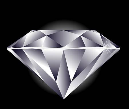 diamante negro: Diamond ilustraci�n sobre un fondo negro.