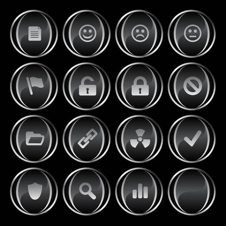 Collection of 16 black/gray buttons part 2( document, smiley, sad face, neutral face, flag, unlocked, locked, prohibited, folder, link, radioactive, ok, shield, search, poll, blank). See my portfolio for more. Stock Vector - 2833356