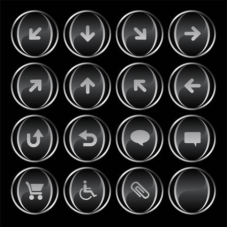 Collection of 16 blackgray buttons part 3( up, down, left, right, diagonal, back up, back, arrows, clouds, shopping card, wheelchair, attachment, blank). See my portfolio for more. Vector