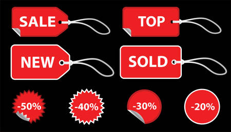 Set of red sale price tags. The text can be easily modified. See my portfolio for more stickers. Vector