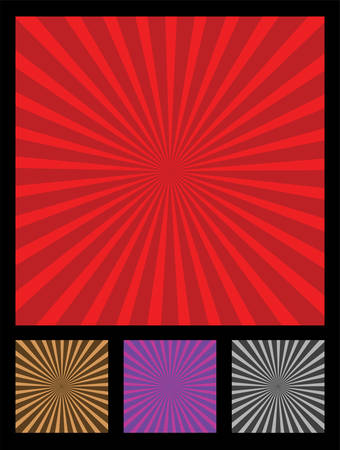 Popular design element called sun rays. 4 different colors included (red, brow, purple, black).