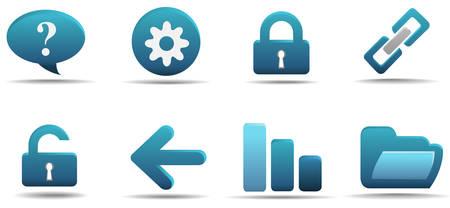 Web icon set 2   Aqua series Stock Vector - 3014734