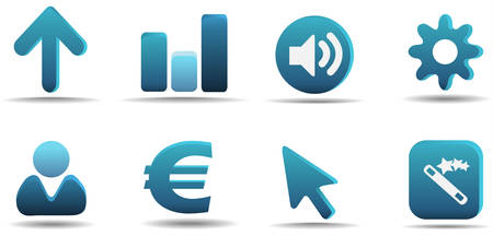Web icon set 3   Aqua series Stock Vector - 3014739