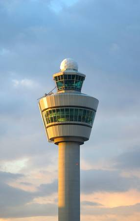 traffic control: Airport control tower in Amsterdam (Schiphol) Stock Photo