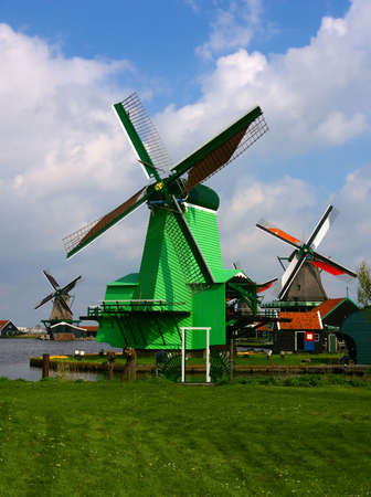 Picture of dutch windmill with nice green grass in front of them Stock Photo - 3078384