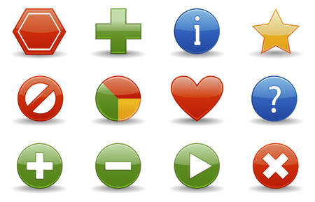 Glossy series part 1:  collection of 12 colorful web icons. Vector