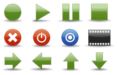 Glossy series part 3:  collection of 12 colorful media player icons. Vector