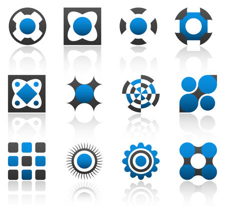 Collection of 12 design elements and graphics in blue and gray color. Part 1. Vector