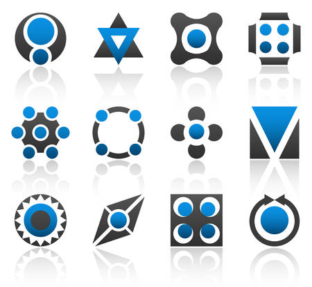 Collection of 12 design elements and graphics in blue and gray color. Part 3. Illustration