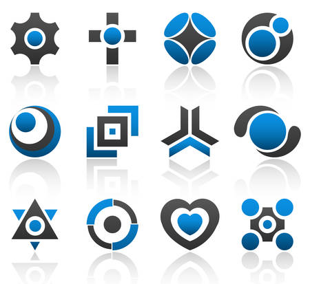 Collection of 12 design elements and graphics in blue and gray color. Part 4. Stock Vector - 3178585