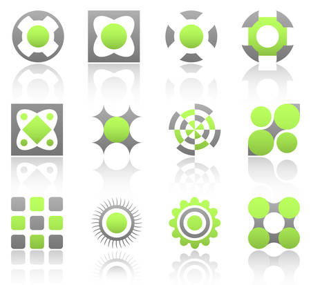 Collection of 12 design elements and graphics in green and gray color. Part 1. Vector