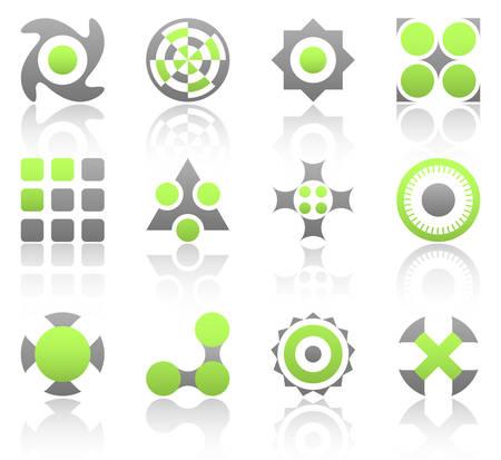 triangle button: Colecci�n de 12 elementos de dise�o y gr�ficos en color verde y de color gris. Parte 2.
