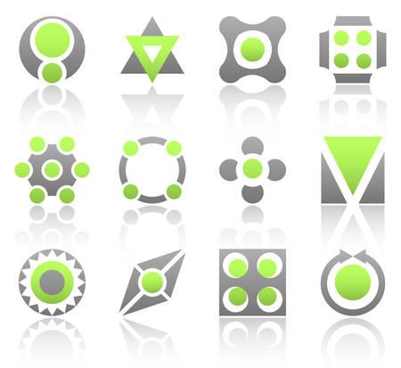 triangle button: Colecci�n de 12 elementos de dise�o y gr�ficos en color verde y de color gris. Parte 3.