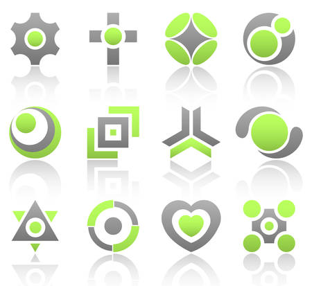 Collection of 12 design elements and graphics in green and gray color. Part 4. Vector