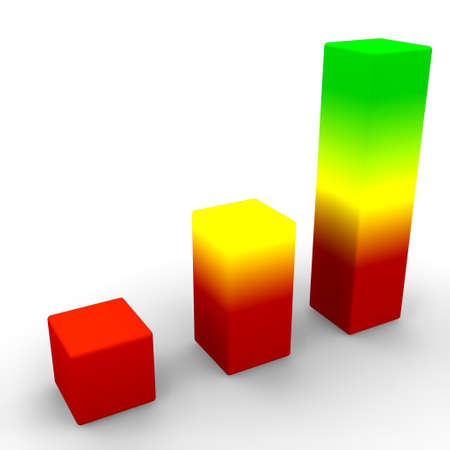 3d cg: 3d render of a colorful graph showing positive trends