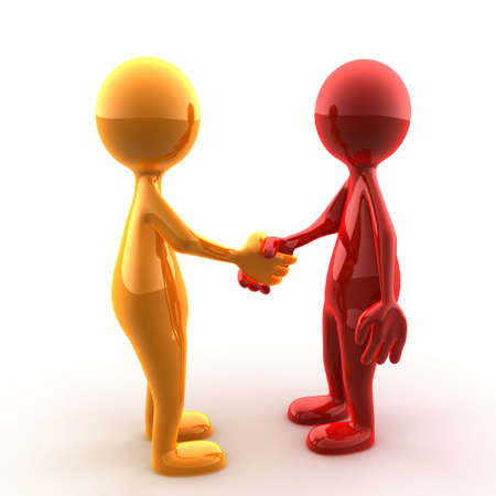 Handshake of two glossy characters Stock Photo - 3415837
