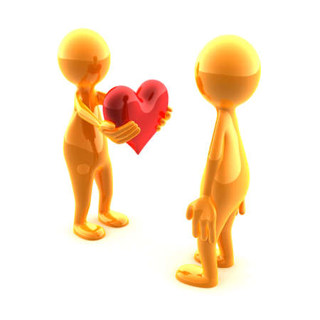 A person giving a beautiful red heart to another person. Stock Photo - 3422343