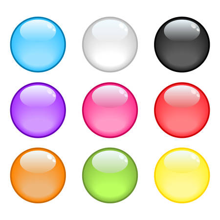A collection of 9 colorful glossy spheres Vector